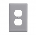 1-Gang Duplex Wall Plate, Mid-Size, Polycarbonate, Gray