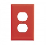 1-Gang Duplex Wall Plate, Mid-Size, Polycarbonate, Red