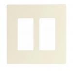 2-Gang Decora Wall Plate, Mid-Size, Screwless, Light Almond