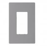 1-Gang Decora Wall Plate, Mid-Size, Screwless, Gray