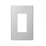 1 Gang Wallplate, Screwless, Mid-Size, Silver Granite Finish
