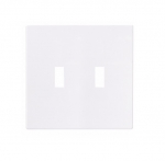 2-Gang Toggle Wall Plate, Mid-Size, Screwless, White