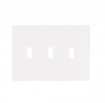 3-Gang Toggle Wall Plate, Mid-Size, Screwless, White