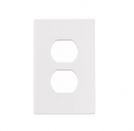 1-Gang Duplex Receptacle Wall Plate, Mid-Size, Screwless, White