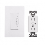15 Amp Anyplace Switch w/ Z-Wave Receptacle, Battery Operated, Alpine White