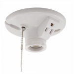 600W Ceiling Lamp Holder w/ Single Receptacle, Medium Base, Thermoset, Pull Chain, White
