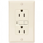 15 Amp Duplex GFCI Receptacle Outlet w/ Mid-Size Wallplate, Almond