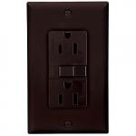 15 Amp Duplex GFCI Receptacle Outlet, Brown