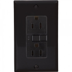 15 Amp Duplex GFCI Receptacle Outlet, Black, Pack of 50