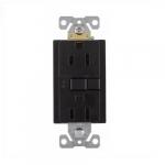 15 Amp Duplex GFCI Receptacle Outlet, Mid-Size, Black