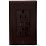 15 Amp Duplex GFCI NAFTA-Compliant Receptacle Outlet, Brown