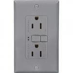15 Amp Duplex GFCI Receptacle Outlet, Gray