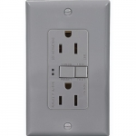15 Amp Duplex GFCI Receptacle Outlet, Gray, Pack of 50