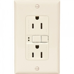 15 Amp Duplex GFCI Receptacle Outlet w/ Mid-Size Wallplate, Light Almond