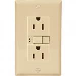 15 Amp Duplex GFCI Receptacle Outlet, Ivory