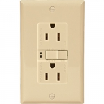 15 Amp Duplex GFCI Receptacle Outlet w/ Mid-Size Wallplate, Ivory