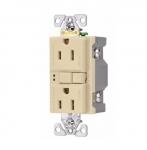 15 Amp GFCI Duplex Receptacle, 2-Pole, PVC, Ivory
