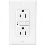 15 Amp Duplex GFCI Receptacle Outlet, White