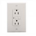 15 Amp Duplex GFCI Receptacle Outlet, Mid-Size, White