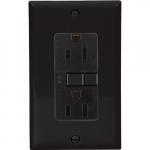 20 Amp Duplex GFCI Receptacle Outlet, Black