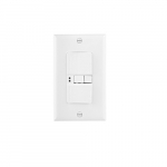 20 Amp Self Test GFCI Receptacle w/Audible Alarm, Blank Face, White