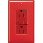 15 Amp Hospital Grade GFCI Receptacle Outlet, Red