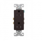 15 Amp Duplex Receptacle, Decora, Tamper Resistant, Brown