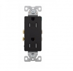 15 Amp Duplex Receptacle, Decora, Tamper Resistant, Black