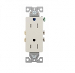 15 Amp Duplex Receptacle, Decora, Tamper Resistant, Light Almond