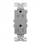 15 Amp Duplex Receptacle, Decora, Tamper Resistant, Grey