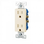 15 Amp Duplex Receptacle, Decora, Tamper Resistant, Light Almond