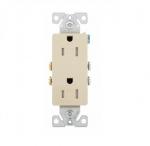 15 Amp Duplex Receptacle, Decora, Tamper Resistant, Ivory