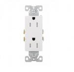 15 Amp Duplex Receptacle, Decora, Tamper Resistant, White