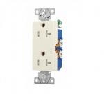 20 Amp Duplex Receptacle, Decora, Tamper Resistant, Almond