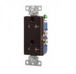 20 Amp Duplex Receptacle, Decora, Tamper Resistant, Brown