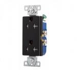 20 Amp Duplex Receptacle, Decora, Tamper Resistant, Black