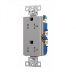 20 Amp Duplex Receptacle, Decora, Tamper Resistant, Grey