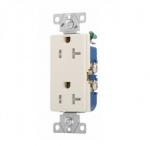 20 Amp Duplex Receptacle, Decora, Tamper Resistant, Light Almond
