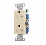 20 Amp Duplex Receptacle, Decora, Tamper Resistant, Ivory