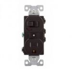 15 Amp Combination Switch, Tamper Resistant, Brown