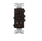 20 Amp Combination Switch, Tamper Resistant, Brown