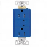 15 Amp Duplex Receptacle w/ Surge Protection & LED Indicator, 2-Pole, 125V, Blue