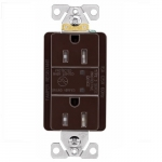 15 Amp Duplex Receptacle w/ Surge Protection & LED Indicator, 2-Pole, 125V, Brown