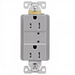 15 Amp Duplex Receptacle w/ Surge Protection & LED Indicator, 2-Pole, 125V, Gray