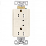 15 Amp Duplex Receptacle w/ Surge Protection & LED Indicator, 2-Pole, 125V, Light Almond