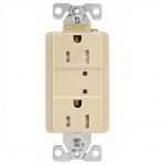 15 Amp Duplex Receptacle w/ Surge Protection & LED Indicator, 2-Pole, 125V, Ivory