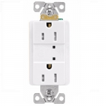 15 Amp Duplex Receptacle w/ Surge Protection & LED Indicator, 2-Pole, 125V, White