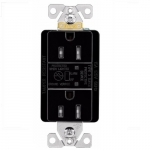15 Amp Duplex Receptacle w/ Surge Protection Alarm & LED Indicator, 2-Pole, 125V, Black