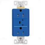 15 Amp Duplex Receptacle w/ Surge Protection Alarm & LED Indicator, 2-Pole, 125V, Blue