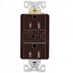 15 Amp Duplex Receptacle w/ Surge Protection Alarm & LED Indicator, 2-Pole, 125V, Brown